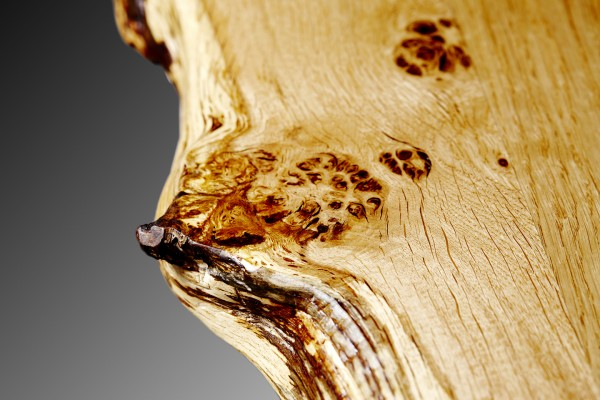 close up of Oak waney edge. burr filled with resin. dining table july 2015