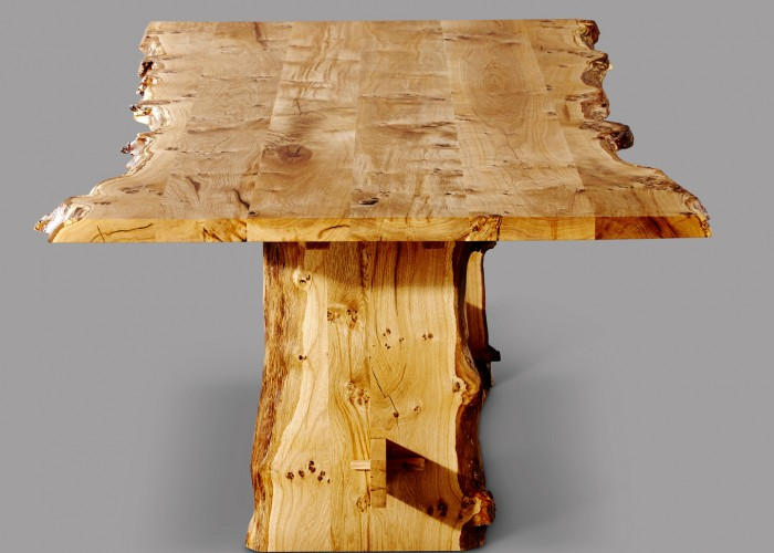 Wider shot of Oak dining table. The shot really shows how wild the natural waney edge is.