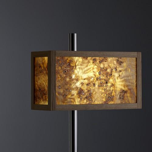 Backlit Burr poplar set in an Oak frame. Mounted on a stainless steel upright. LED lighting.