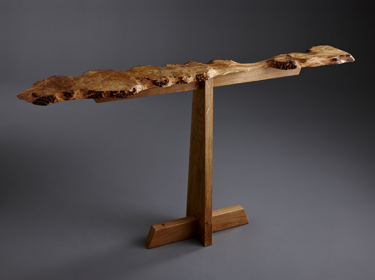 Burr Oak Console Table